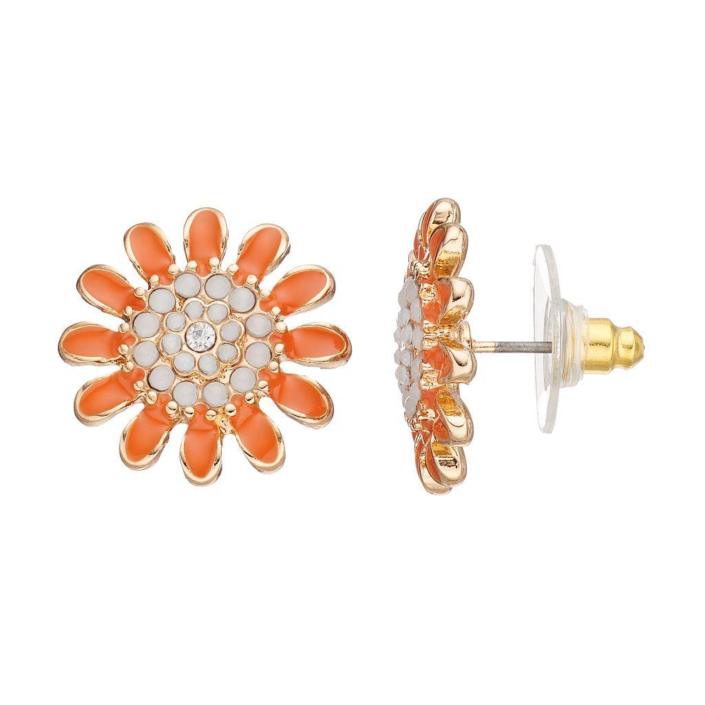 Orange Flower Nickel Free Stud Earrings