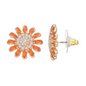 Orange Flower Nickel Free Stud Earrings