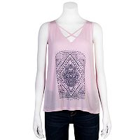 Juniors' Grayson Threads Criss-Cross Hamsa Graphic Tank