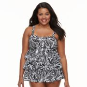 Plus Size Beach Scene Tiered Tankini Top