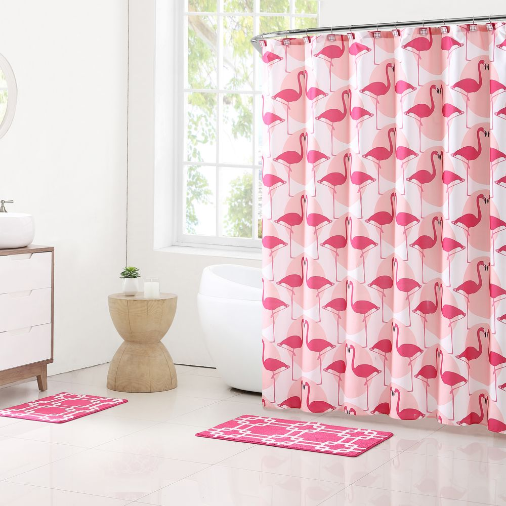 15-piece flamingo bathroom set