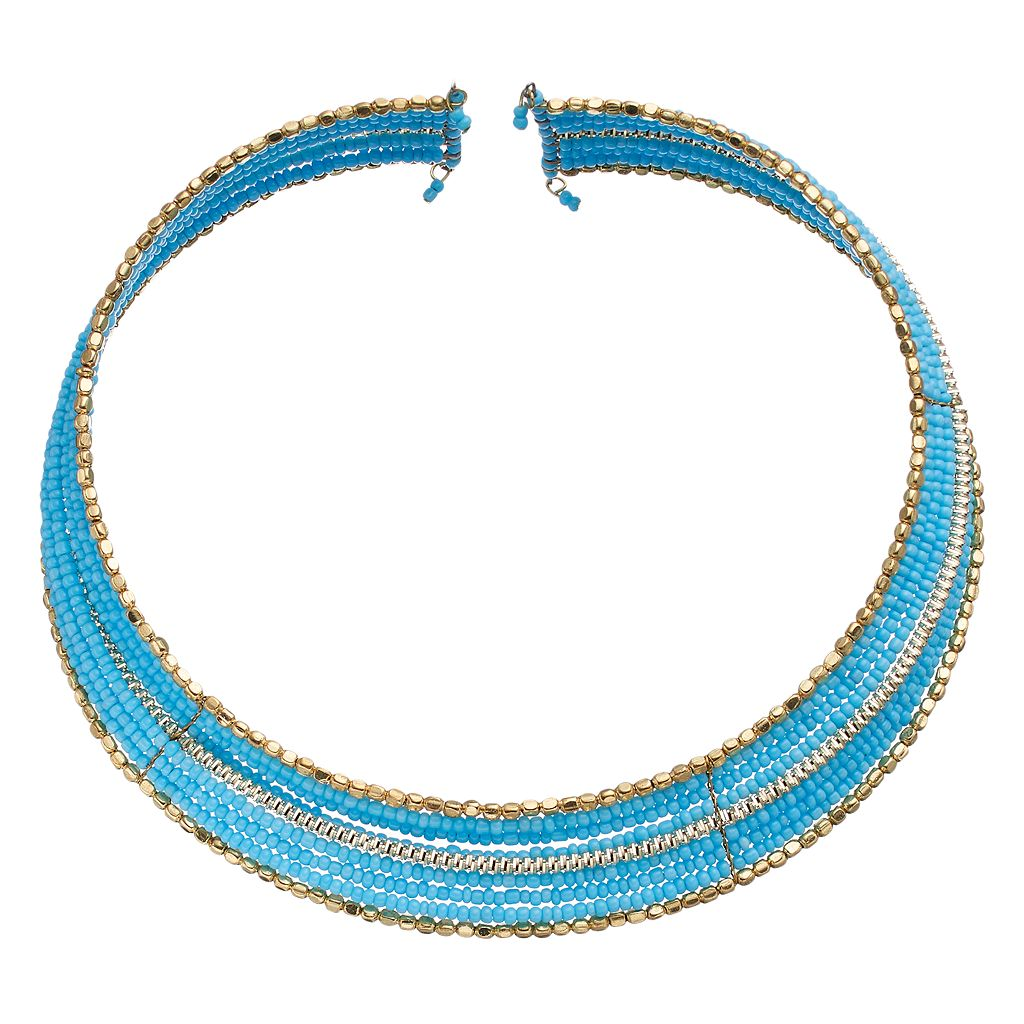 Blue Seed Bead Open Collar Necklace
