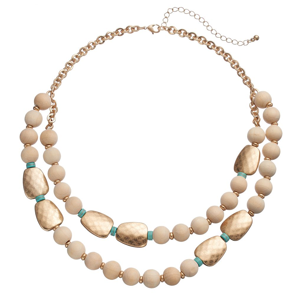 Wooden Bead Double Strand Necklace