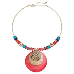 Beaded Composite Shell Medallion Collar Necklace