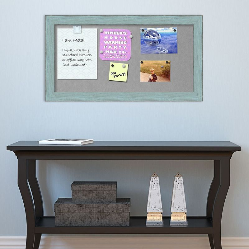 Amanti Art Rustic Blue Framed Magnetic Bulletin Board Wall Decor. Medium
