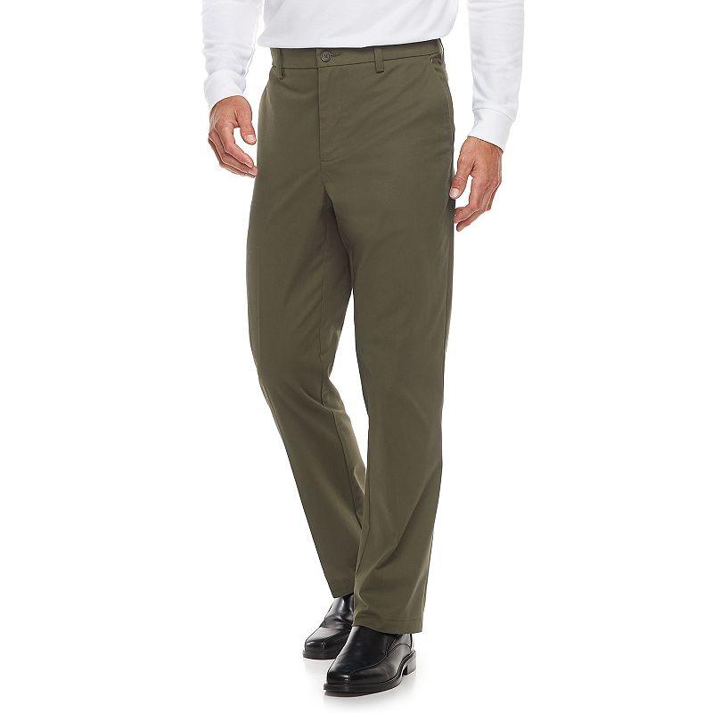 Men's Croft & Barrow Classic-Fit Easy-Care Stretch Flat-Front Khaki Pants. Size: 29X30. Dark Green