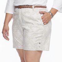 Plus Size Gloria Vanderbilt Nimah Printed Belted Shorts