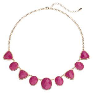 Magenta Geometric Stone Necklace