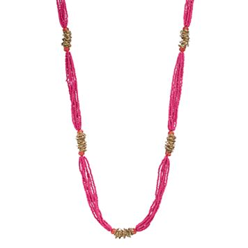 Pink Seed Bead Long Multi Strand Necklace