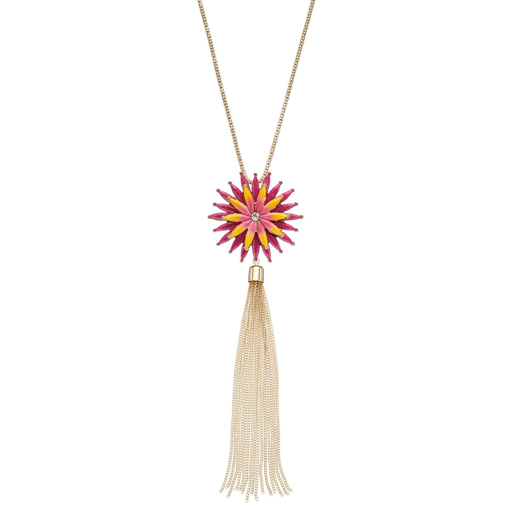 Long Pink Flower Tassel Pendant Necklace