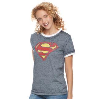 Juniors' DC Comics Superman Logo Ringer Burnout Graphic Tee