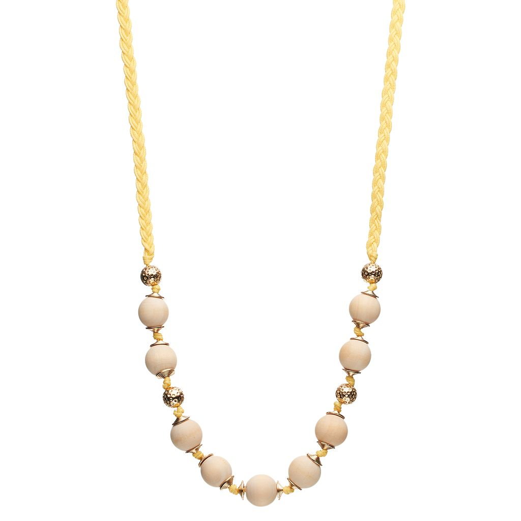 Long Yellow Braided Wooden Bead Long Necklace