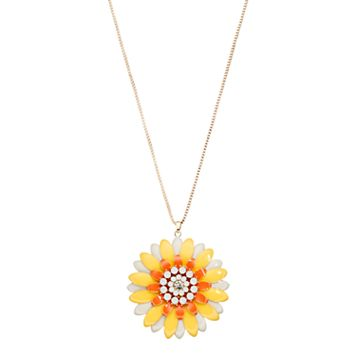 Long Yellow & Orange Flower Pendant Necklace