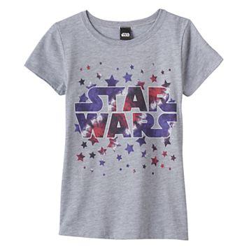 Girls 7-16 Star Wars Logo Stars Graphic Tee
