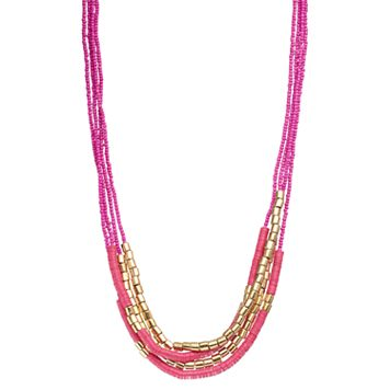 Layered Pink Sequin & Seed Bead Necklace