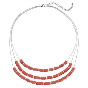 Layered Peach Sequin Necklace
