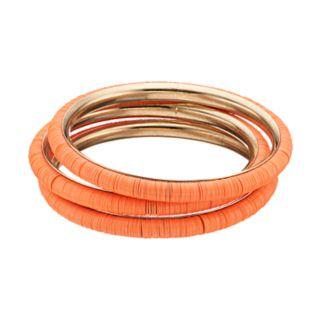 Peach Disc Bangle Bracelet Set