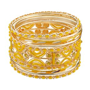 Yellow Seed Bead Openwork Bangle Bracelet Set