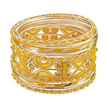 Yellow Seed Bead Openwork Bangle Bracelet Set