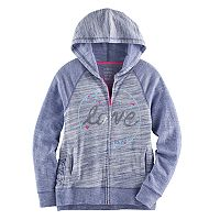 Girls 7-16 & Plus Size SO® Sequin Lattice Hem Zip-Up Hoodie