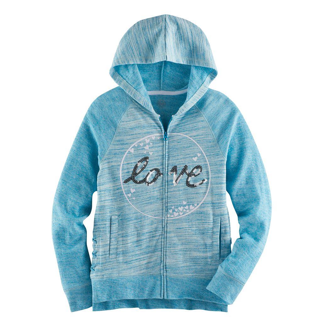 Girls 7-16 & Plus Size SO® Sequin Lattice Hem Zip-Up Hoodie