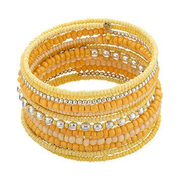 Yellow Seed Bead Coil Bracelet