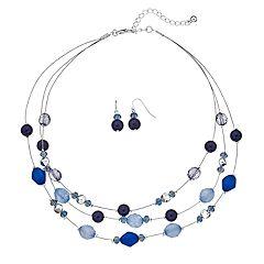 Blue Beaded Multi Strand Necklace & Drop Earring Set