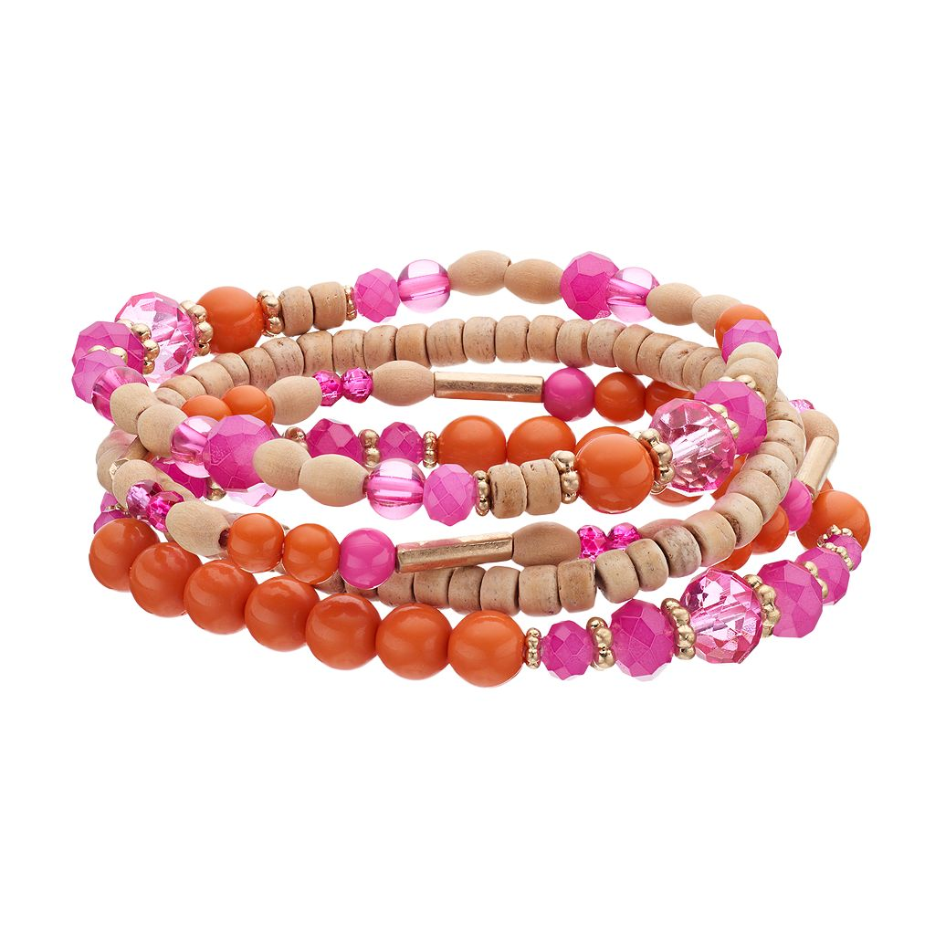 Wooden Bead Stretch Bracelet Set