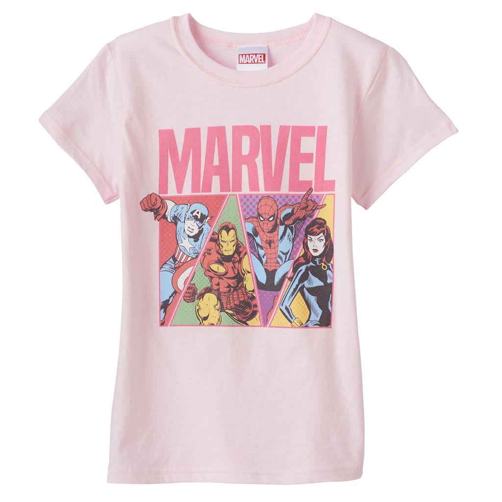 Girls 7-16 Marvel Captain America, Iron Man, Spider-Man & Black Widow Graphic Tee