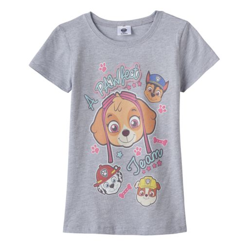 """Girls 7-16 Paw Patrol Skye, Chase, Marshall & Rubble """"A Pawfect Team"""" Graphic Tee"""