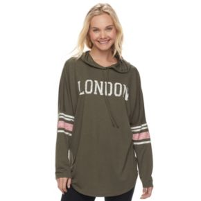 """Juniors' About A Girl """"London"""" Long Sleeve Graphic Hoodie"""