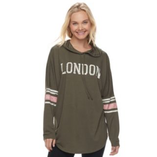"Juniors' About A Girl ""London"" Long Sleeve Graphic Hoodie"