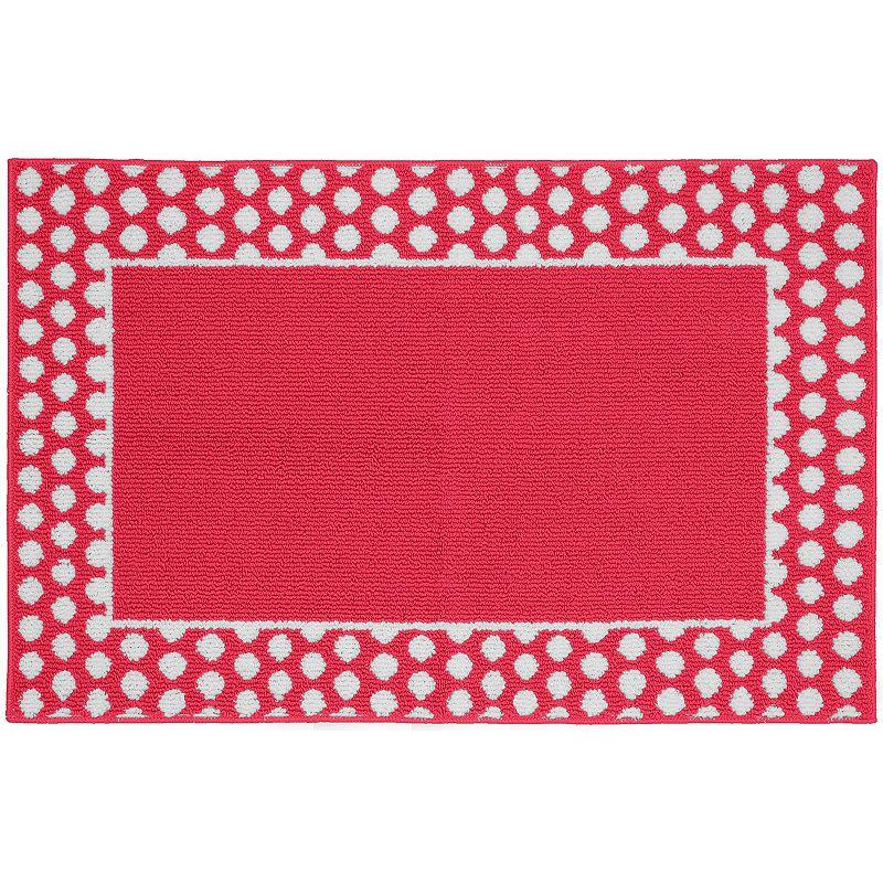 Garland Rug Polka Dot Framed Rug, Pink, 5X7 Ft