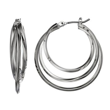 Simply Vera Vera Wang Tiered Nickel Free Triple Hoop Earrings