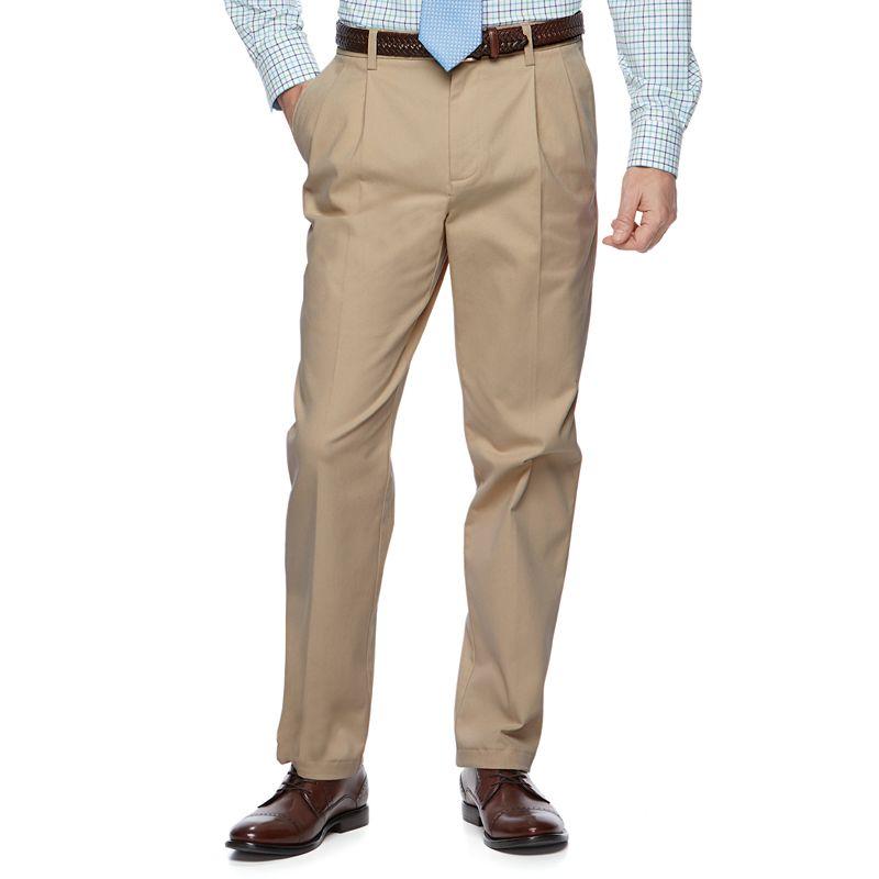 Men's Croft & Barrow Classic-Fit Easy-Care Stretch Pleated Khaki Pants, Size: 42 X 32, Dark Beige