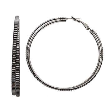 Simply Vera Vera Wang Textured Crisscross Nickel Free Hoop Earrings