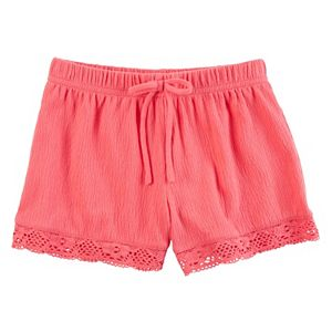 Girls 4-8 Carter's Lace-Hem Gauze Shorts