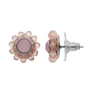 Simply Vera Vera Wang Nickel Free Pink Beaded Halo Stud Earrings