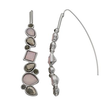 Simply Vera Vera Wang Pink Faceted Stone Nickel Free Threader Earrings