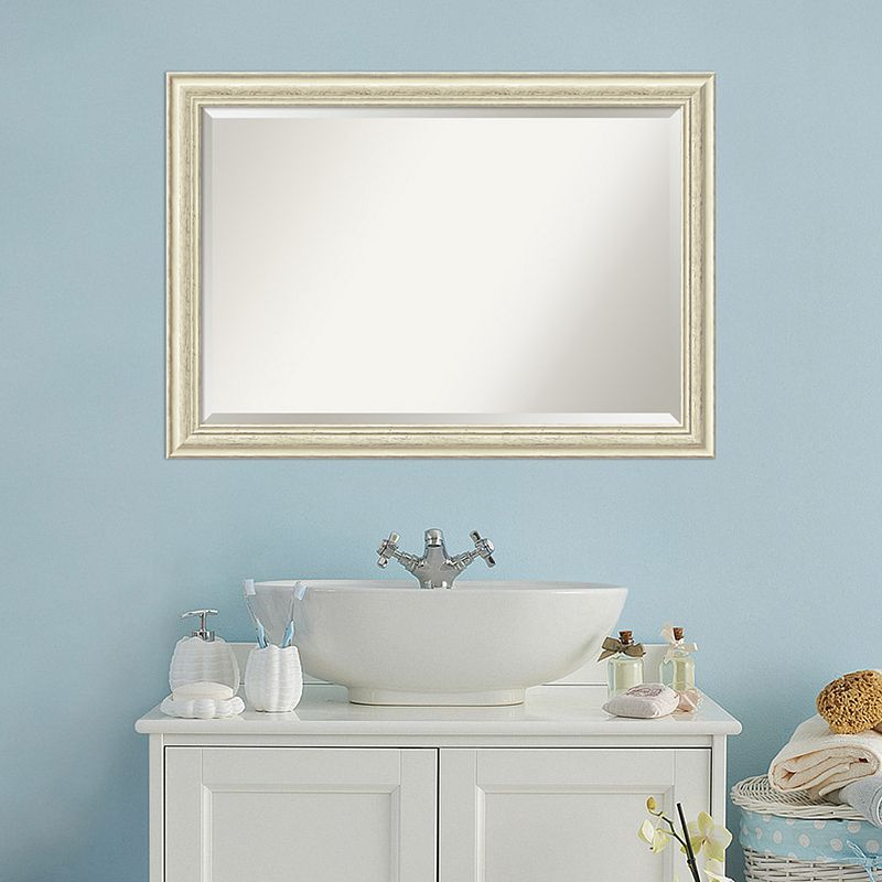 Amanti Art Country White Wash Framed Wall Mirror, Large