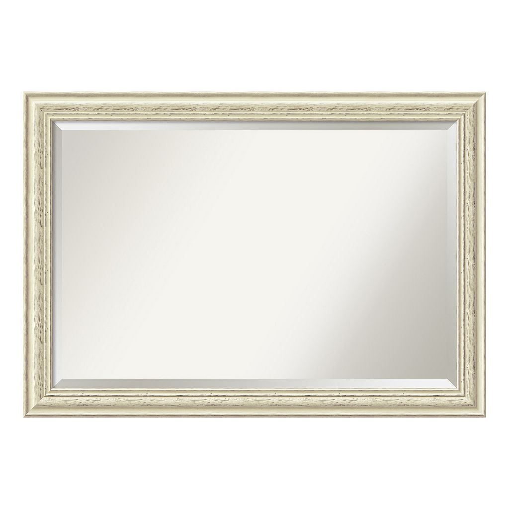 Amanti Art Country White Wash Framed Wall Mirror