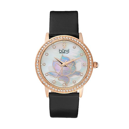 burgi Women's Lotus Flower Crystal Leather Watch