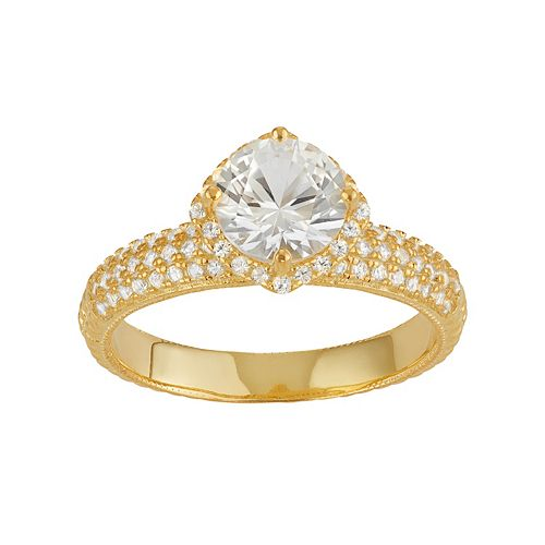 14k Gold Over Silver Lab-Created White Sapphire Halo Ring