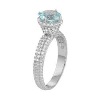 Sterling Silver Sky Blue Topaz & Lab-Created White Sapphire Halo Ring