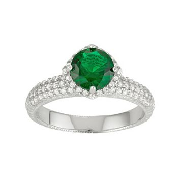 Sterling Silver Simulated Emerald & Lab-Created White Sapphire Halo Ring