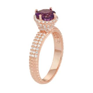 14k Rose Gold Over Silver Amethyst & Lab-Created White Sapphire Halo Ring