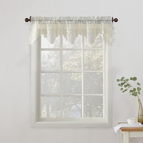 No918 Alison Floral Lace Sheer Kitchen Window Valance