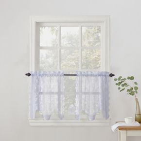 No918 Alison Light Filtering Lace Sheer Kitchen Tier Pair