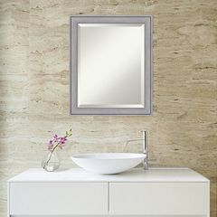 Amanti Art Small Washed Gray Square Wall Mirror