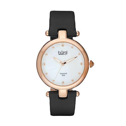 burgi Women's Diamond Leather Watch